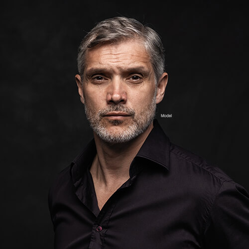 Handsome man in black button up