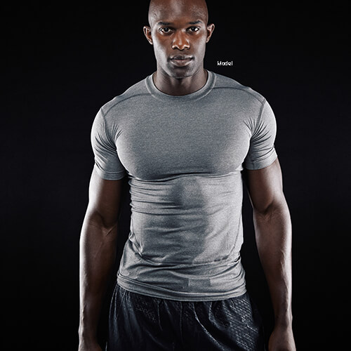 Fit man in a gray shirt