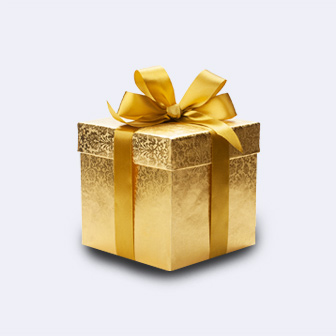 A gift wrapped in gold wrapping paper